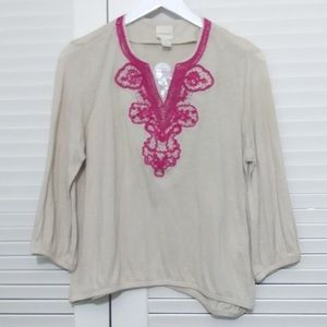 Chicos Embroidered & Beaded Neck Tunic